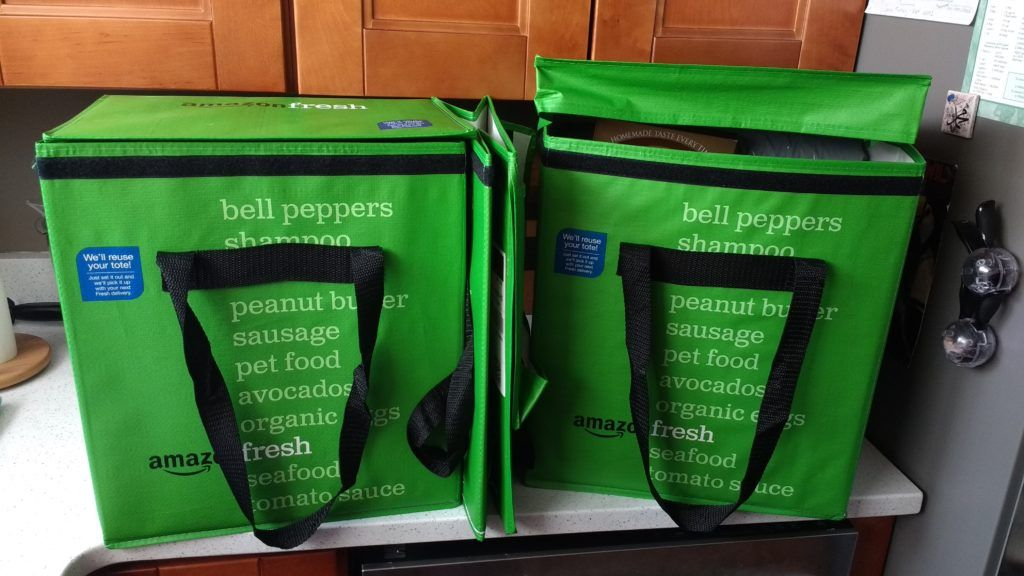 Amazon Fresh Grocery Delivery Totes 1 E1484786949338 Jpg 1024 576 Amazon Grocery Delivery Groceries Fresh Grocery Delivery