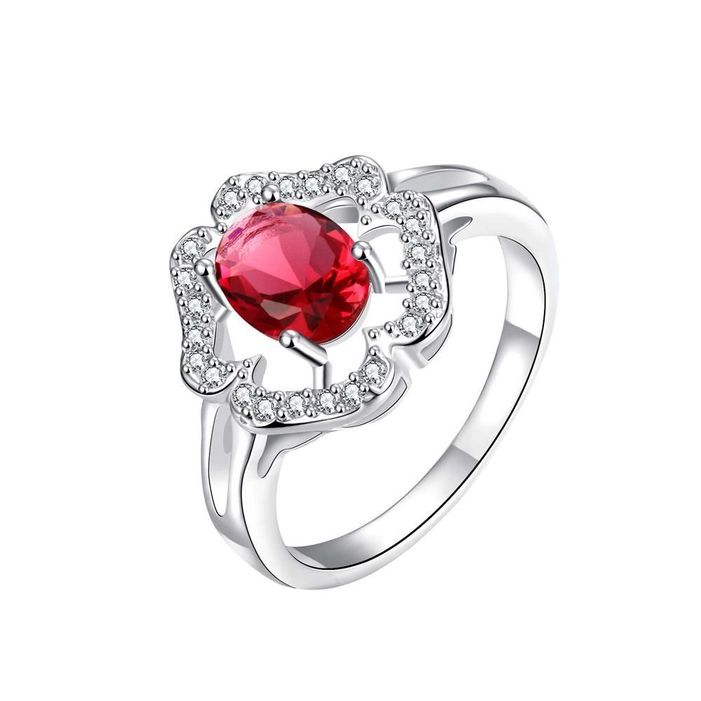 Vienna Jewelry Clover Cluster Ruby Red Petite Ring Women's