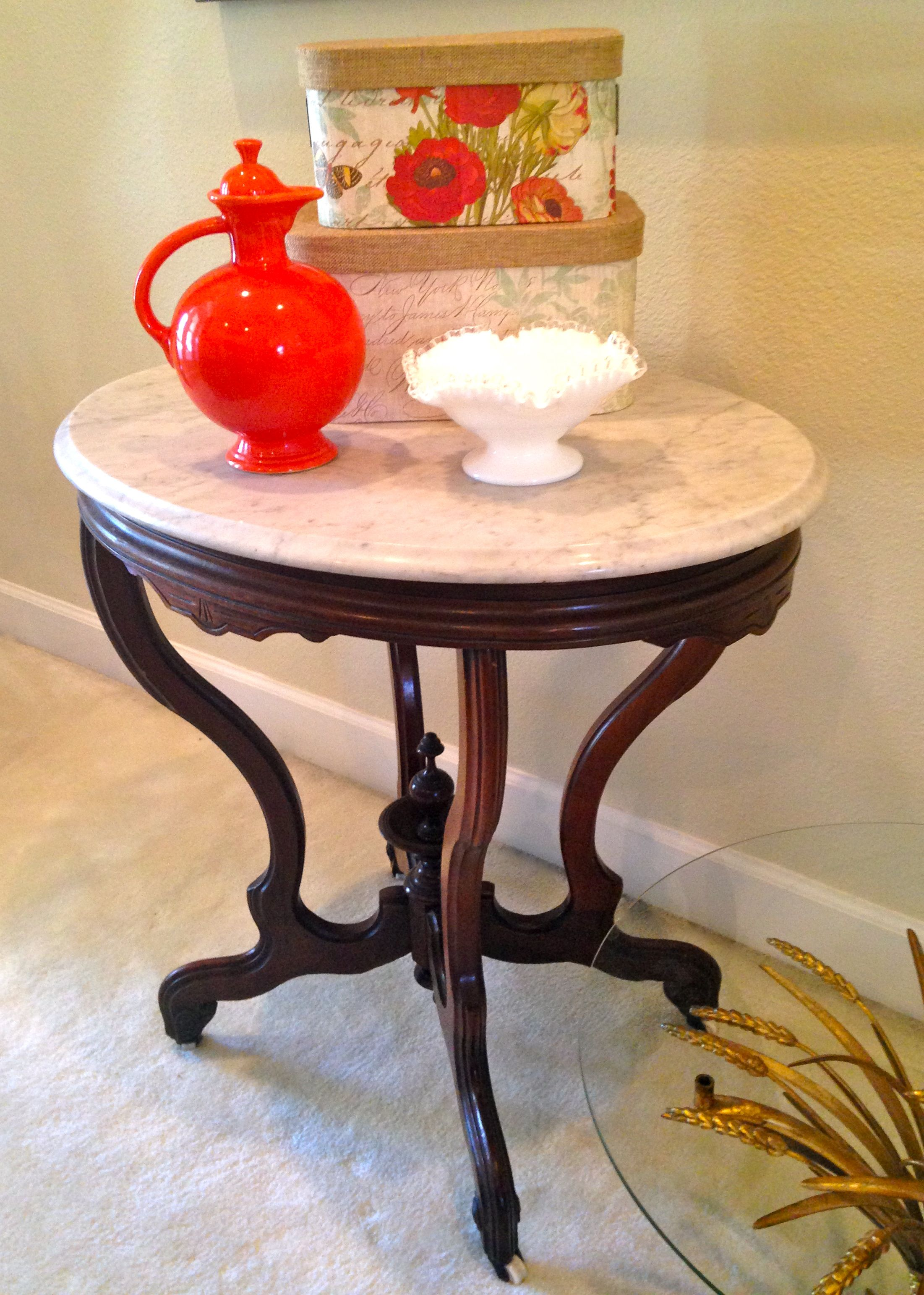 antique marble top table with ceramic wheels 259 sold - Marble Top Table