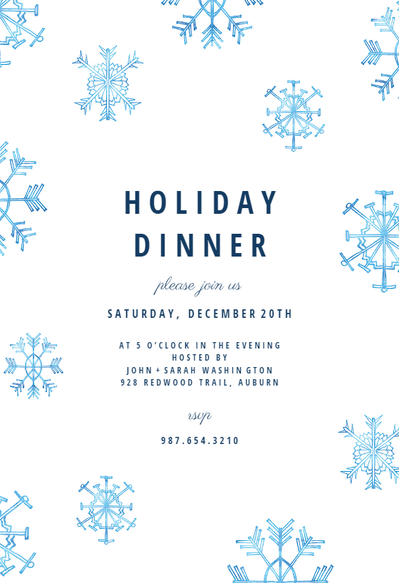 Winter Snow Flakes Invitation Template Customize Add Text And