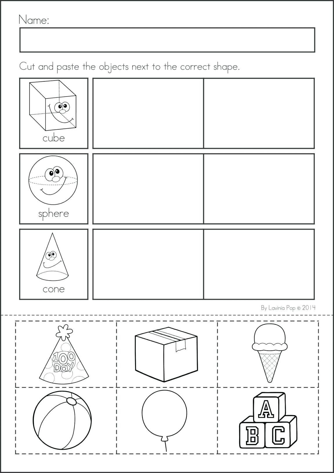 2d Shapes Worksheet Kindergarten In
