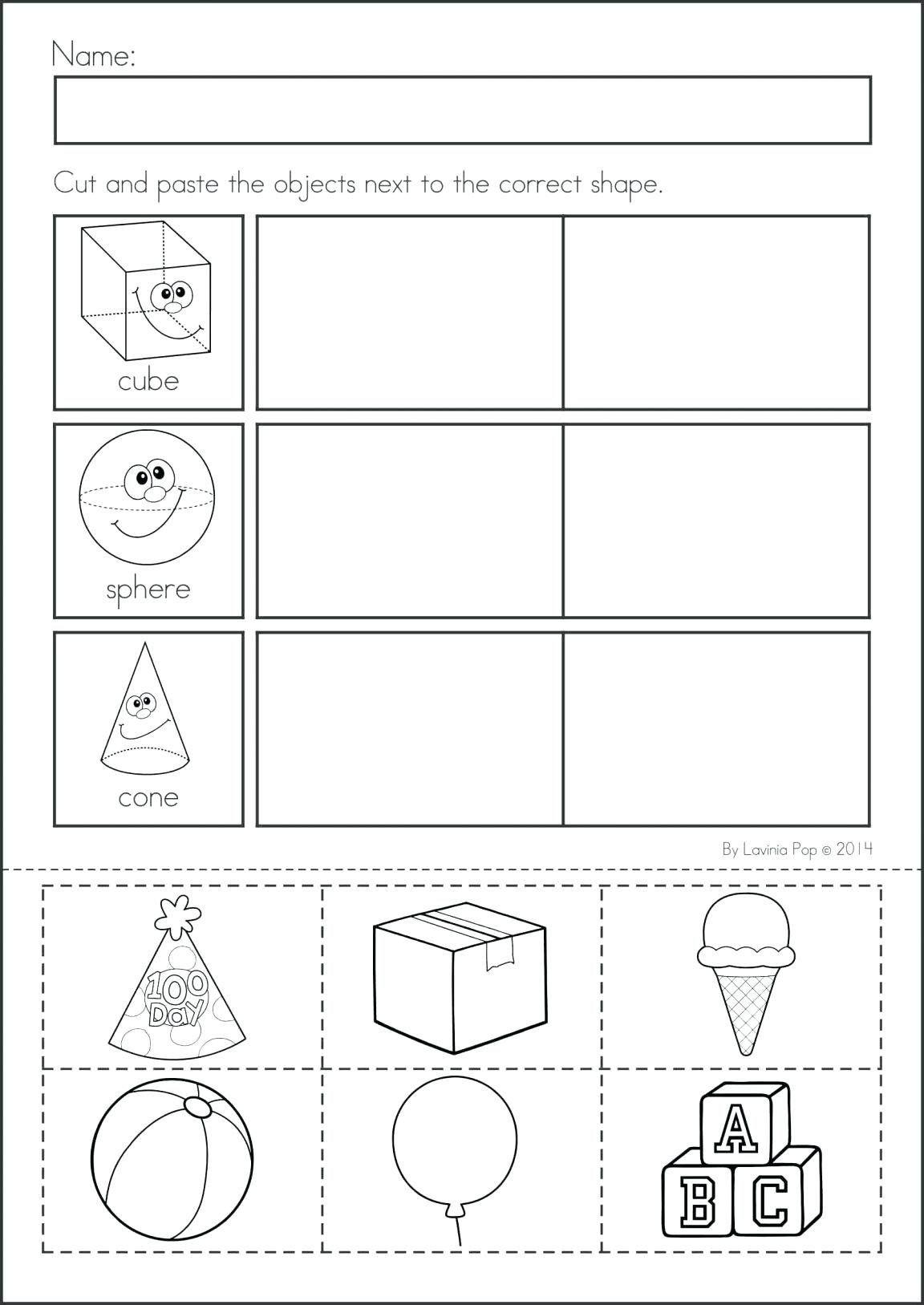 2d Shapes Worksheet Kindergarten In
