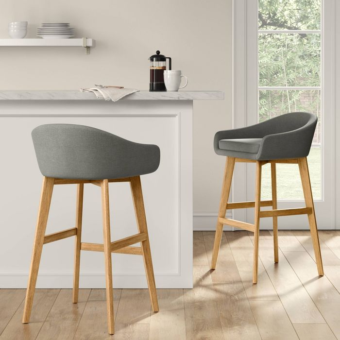 Anni Low Back Upholstered Bar Stool Gray Threshold In 2020 Upholstered Bar Stools Bar Stools Upholster