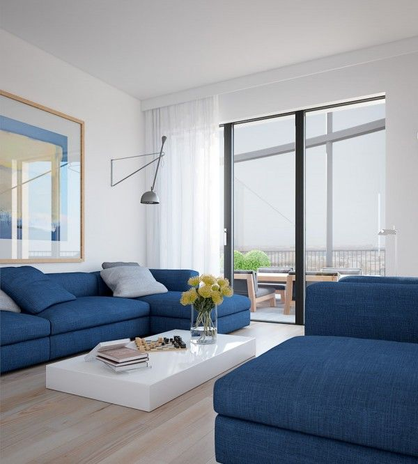 Living Room Ideas · Cool Blue Apartment  Bright Couches With Solid White  Coffee Table Platform And Floral Styling