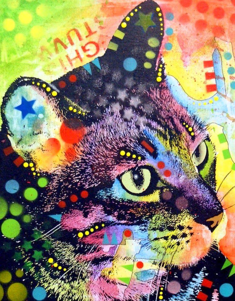 Cuadros modernos de gatos pintados al oleo gatos for Cuadro en lienzo modernos