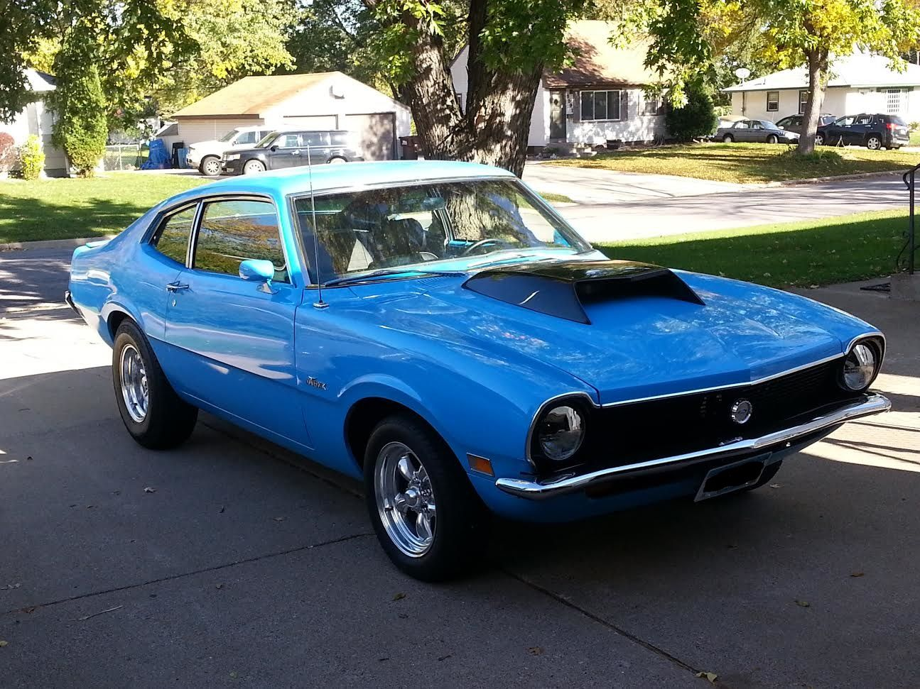 71 Maverick Built 289 C4 With Shift Kit And The Hood Scoop Is