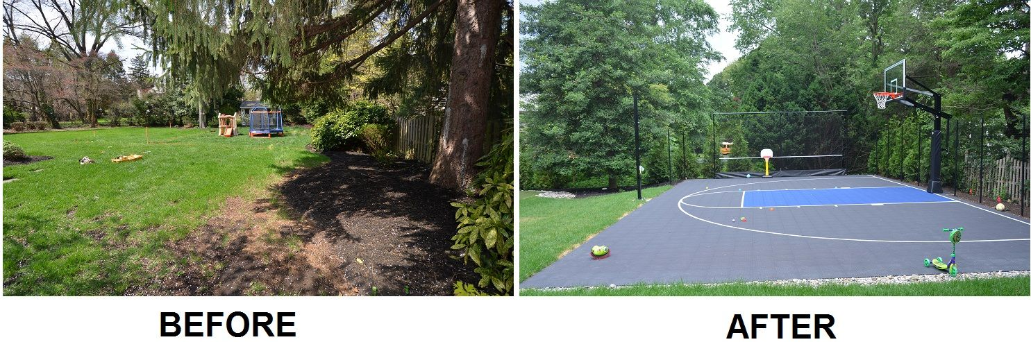 Before and after backyard half basketball court with light for Building a half court basketball court