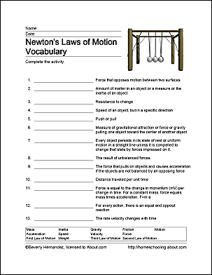 fun ways to learn about newton s laws of motion forces of motion rh pinterest com Vocabulary Study Unit 3 Grade 7 Pg 25 Vocabulary Study Guide Template