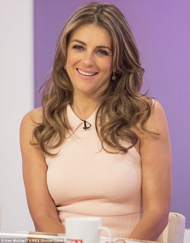 Champion: Elizabeth Hurley appeared on Loose Women on Friday for a special episode focusing on breast cancer and awareness of the condition