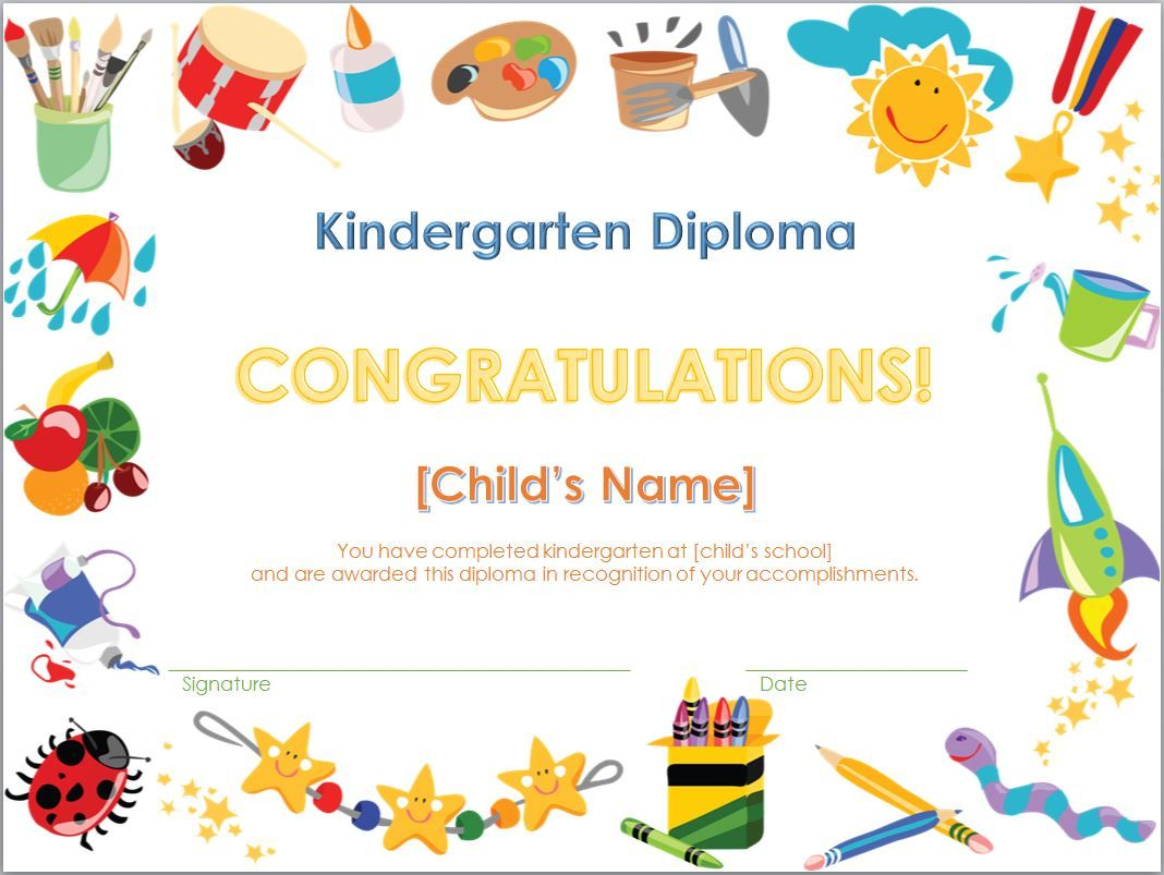 Screenshot of the Kindergarten Diploma Template – Graduation Certificate Template Free