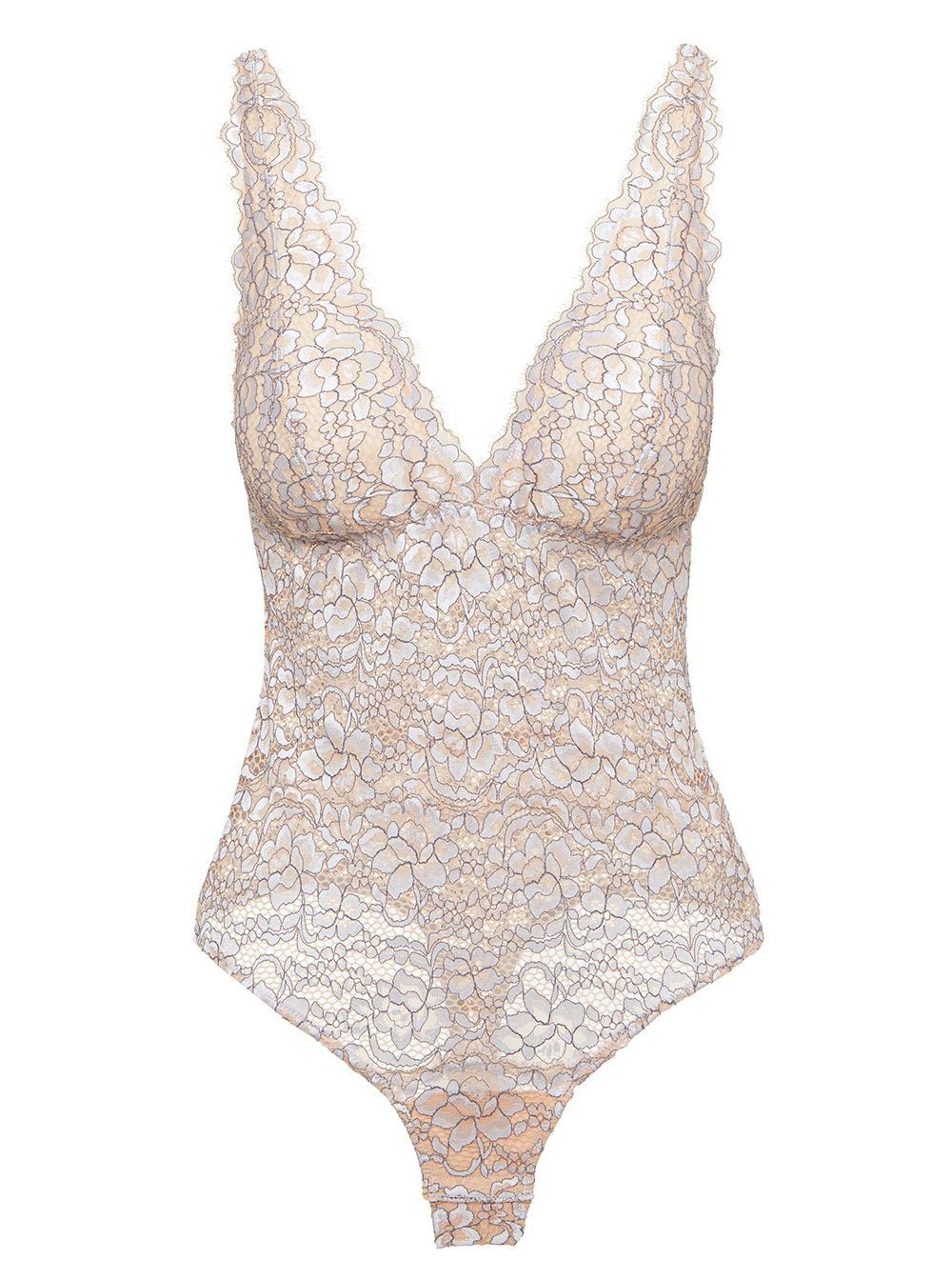 Recycled nylon bustier bodysuit beige color thong cut swimsuit in econyl regenerated nylon