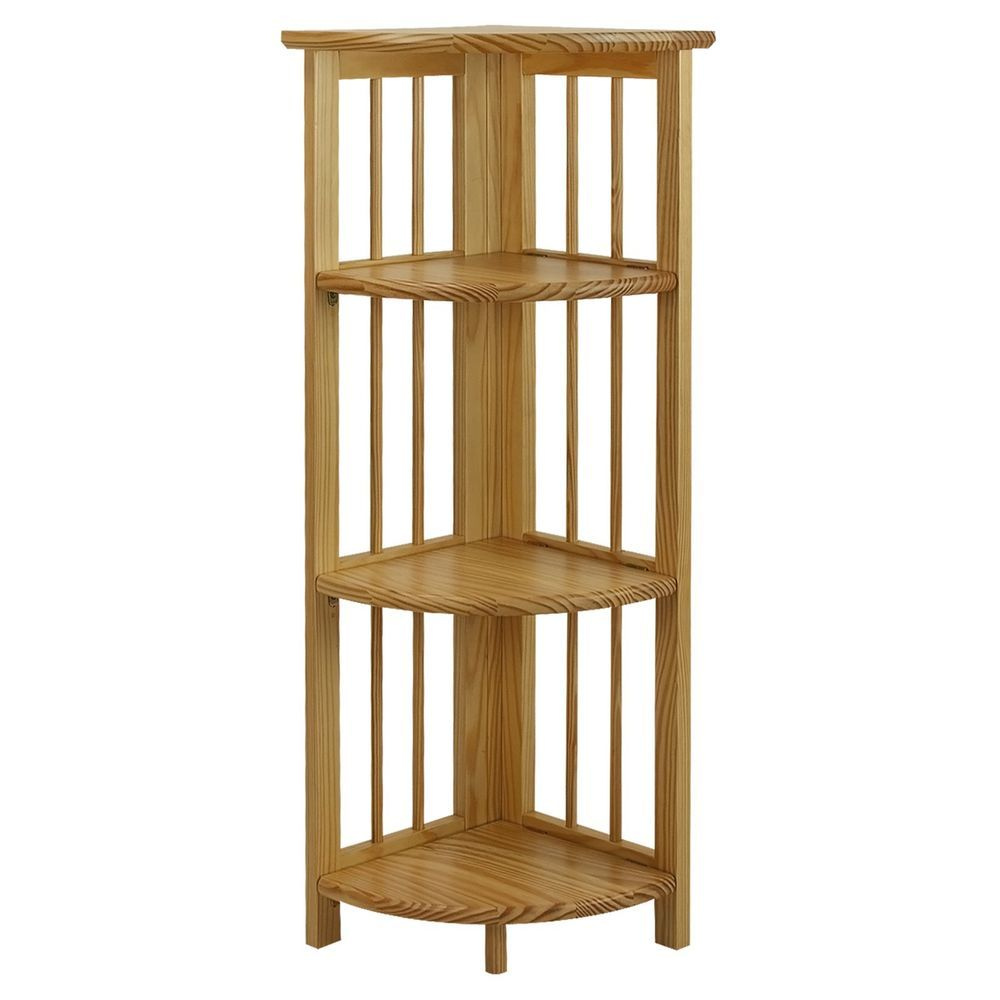 Wood Corner Bookcase 4 Tier Shelf Wall Unit Bookshelf Display Stand ...