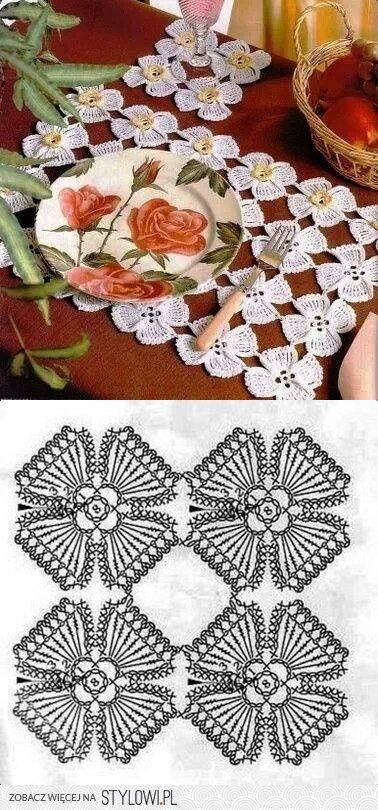 szydełko / serwetka 1 / element - kwiat na Stylowi.pl