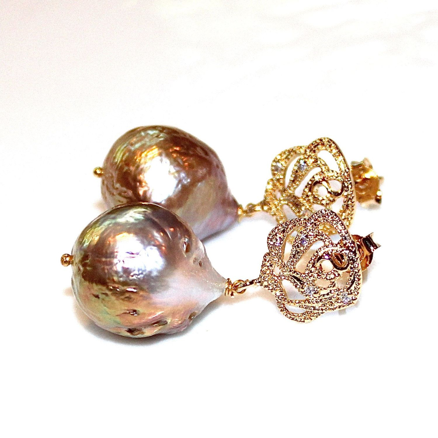 Large Baroque Pearl Bridal Earring Classic Pearl Wedding Earring Bridesmaid Jewelry Iridescent Pearl Earring Large Pearl Earring Baroque by FizzCandy on Etsy