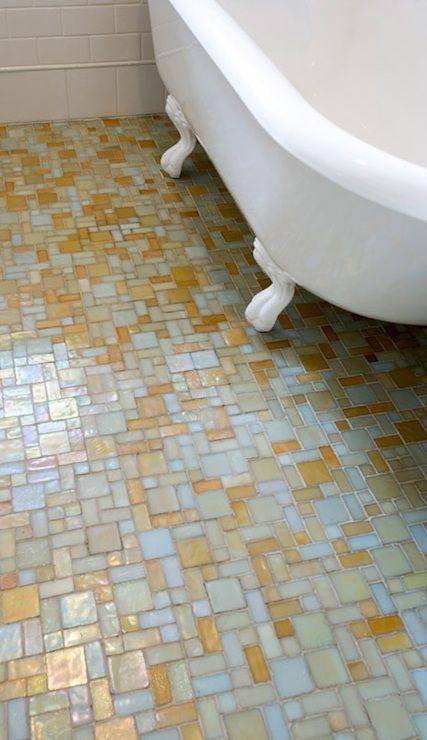 Mosaic Glass Tile Floor Eclectic Bathroom Jessica Helgerson Interior Design Bathroom Floor Tile Patterns Tile Bathroom Patterned Floor Tiles