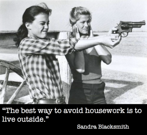 """The best way to avoid housework is to live outside.""  ~ Sandra Blacksmith"
