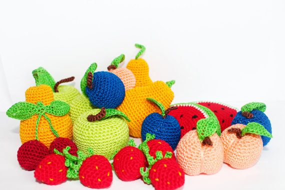 Crochet Fruits, Set of 7 - Pretend play food/ pretend food/ fruits/ fruit basket/ natural toys/ cotton/ gift for child/ multicolore