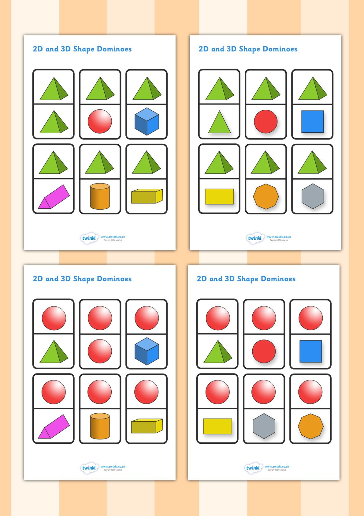 Twinkl Resources Gt Gt 2d And 3d Shapes Dominoes Gt Gt Classroom