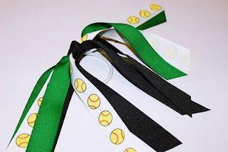Softball Pony Streamer Softball Hair Accessories Softball Elastic Tie