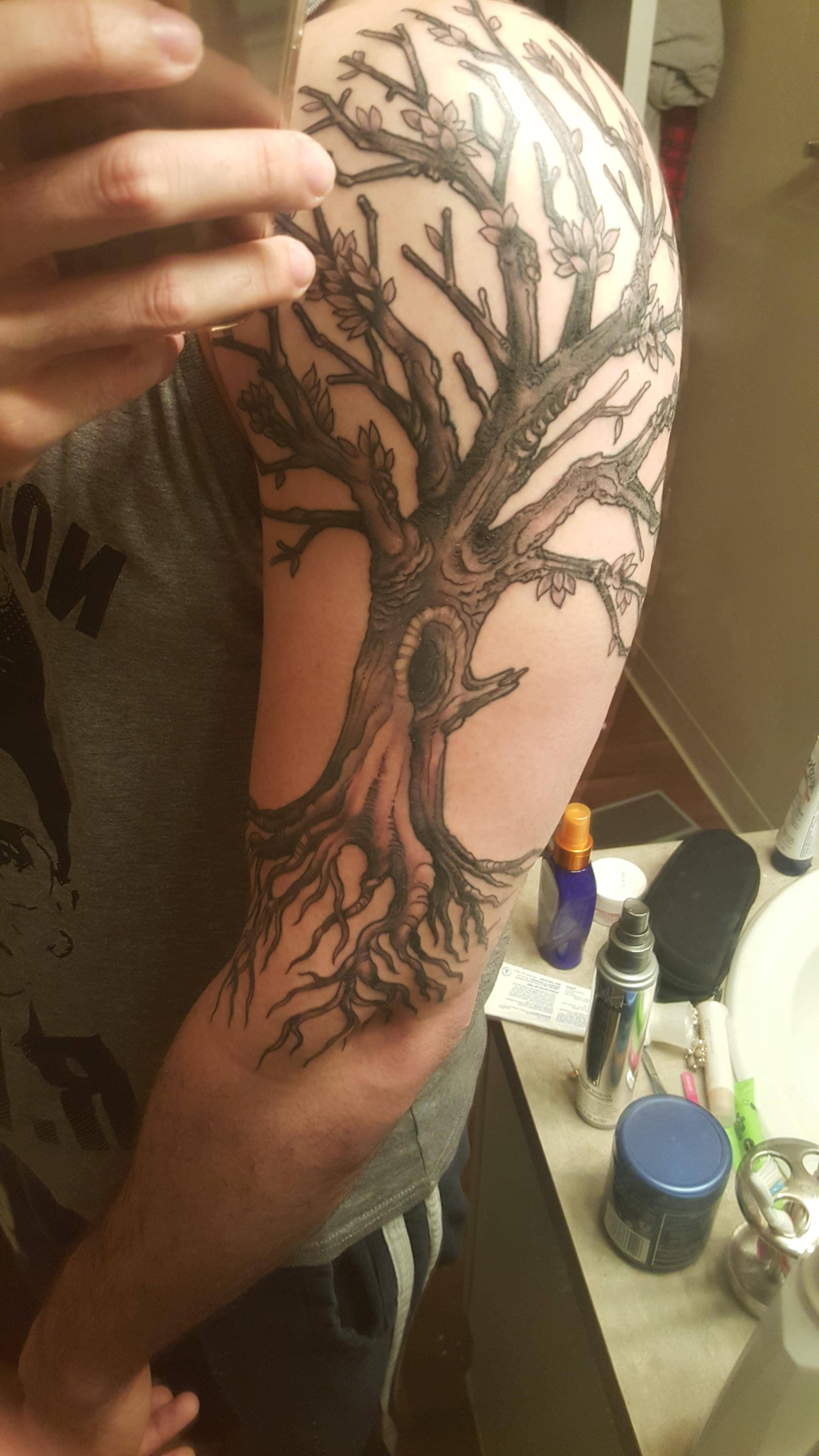 First tattoo--Tree of Life Black and Grey by Adam Van Deutekom at Th'ink Tank Tattoo Denver.