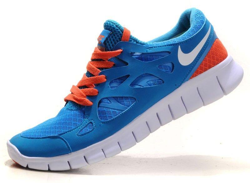 uk availability f8a25 cb75e ... netherlands femme homme nike free run 2 chaussure de course ciel  profond bleu orange 75a9a 50c49