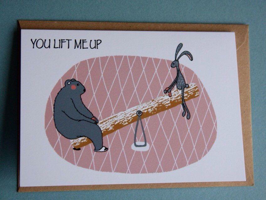 Een persoonlijke favoriet uit mijn Etsy shop https://www.etsy.com/nl/listing/254669864/greeting-card-you-lift-me-up-bear