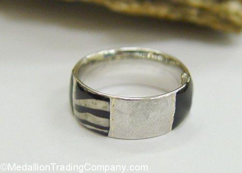 14k White Gold Black Enamel 7mm Wide Ring Animal Zebra Print Satin Polish Size 5 Code: 10PERCENT for 10% off at MedallionTradingCompany.com #promocode #whitegold #animalprint #ring