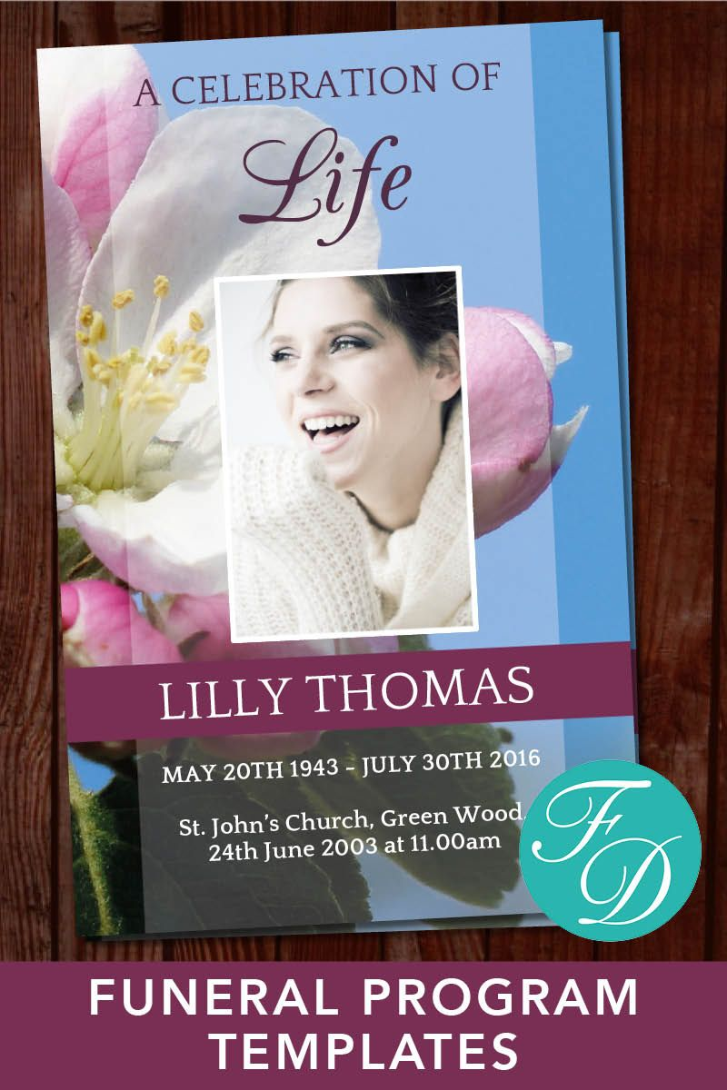 Funeral Service Templates Word Printable Funeral Program Template  Memorial Program  Memorial .