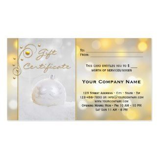 Gift certificate template in business card size featuring a silver gift certificate template in business card size featuring a silver christmas bauble and sparkling gold and yadclub Image collections