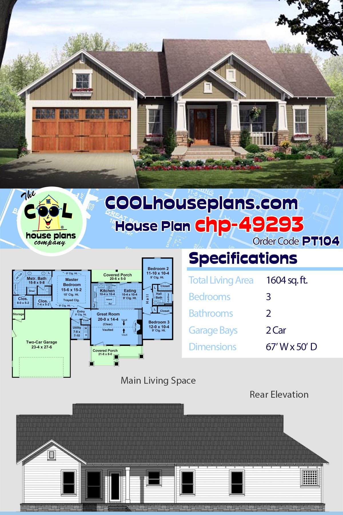 Craftsman Style House Plan 59942 With 3 Bed 2 Bath 2 Car Garage Craftsman House Plans Craftsman Style House Plans Craftsman House