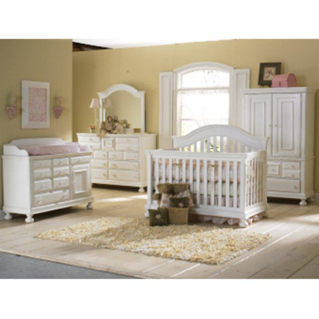 Creations baby summers evening 4 in 1 convertible crib collection rubbed white nursery Baby bedroom furniture sets