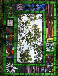 """Art Glass Designs: Glass Mosaics from Artist Sue Smith: """"Gaudi"""" style mosaics created using recycled glass, mirrors and bottles"""