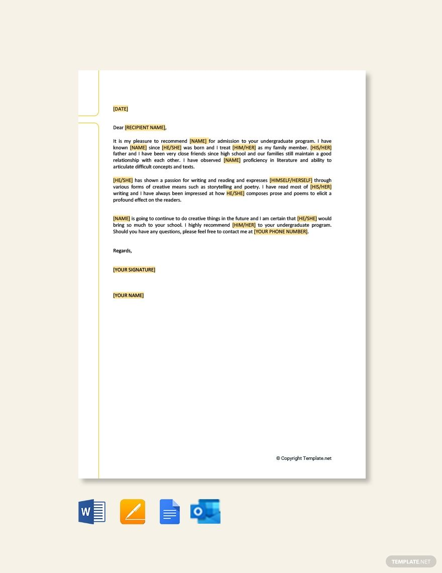 College Recommendation Letter From Family Friend Template Free Pdf Google Docs Word Apple Pages Template Net College Recommendation Letter Letter Of Recommendation Lettering