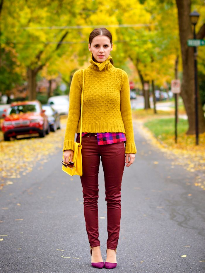 mustard sweater with burgundy pants 2017 | Fashion Trends 2017 ...