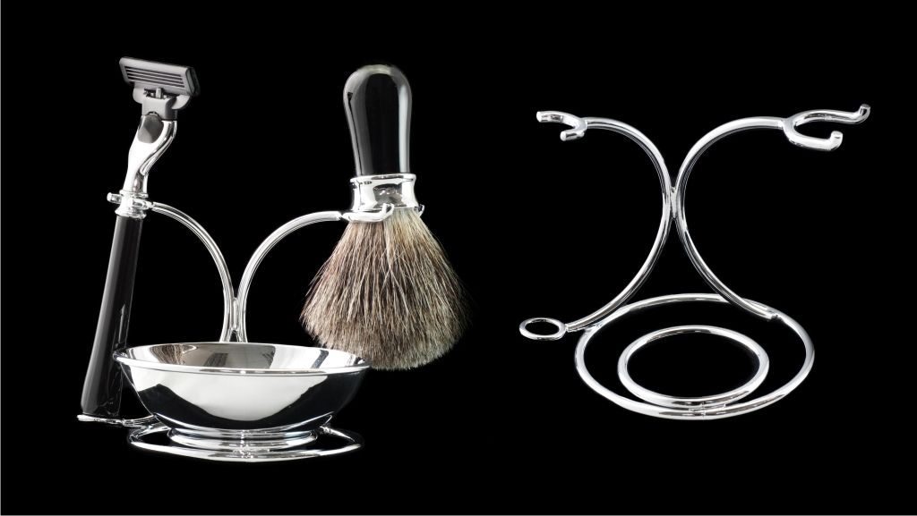 Wire Shaving Set Razor Badger Brush And Chrome Bowl On Stand Http