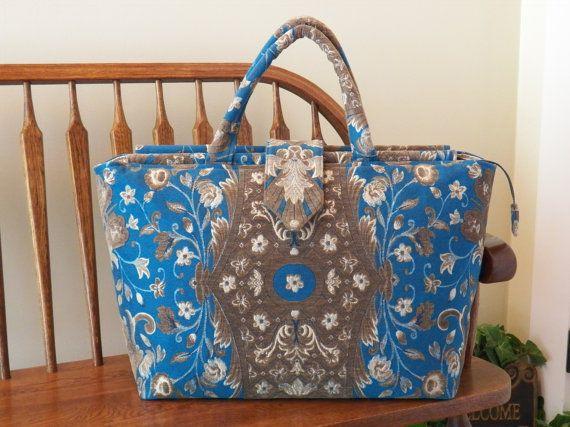 Blue Chenille Weekender Bag #216  My BIG Beautiful Bags-Oversized Bag~Weekender Bag~School Tote~Beach Bag~Diaper Bag~Gym Bag