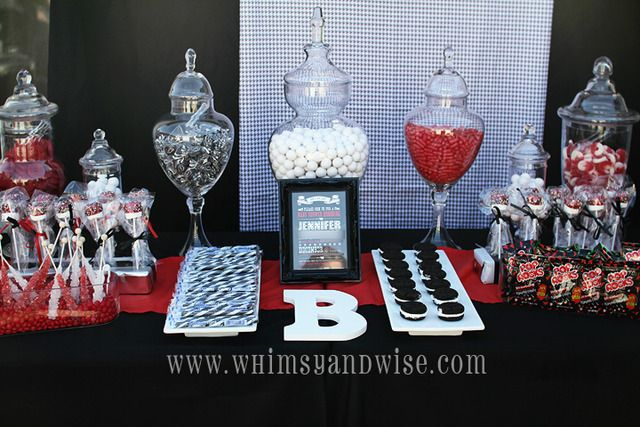 Black, white and red theme party - pop rocks, Oreos, red vines, white mints, marshmallows, etc