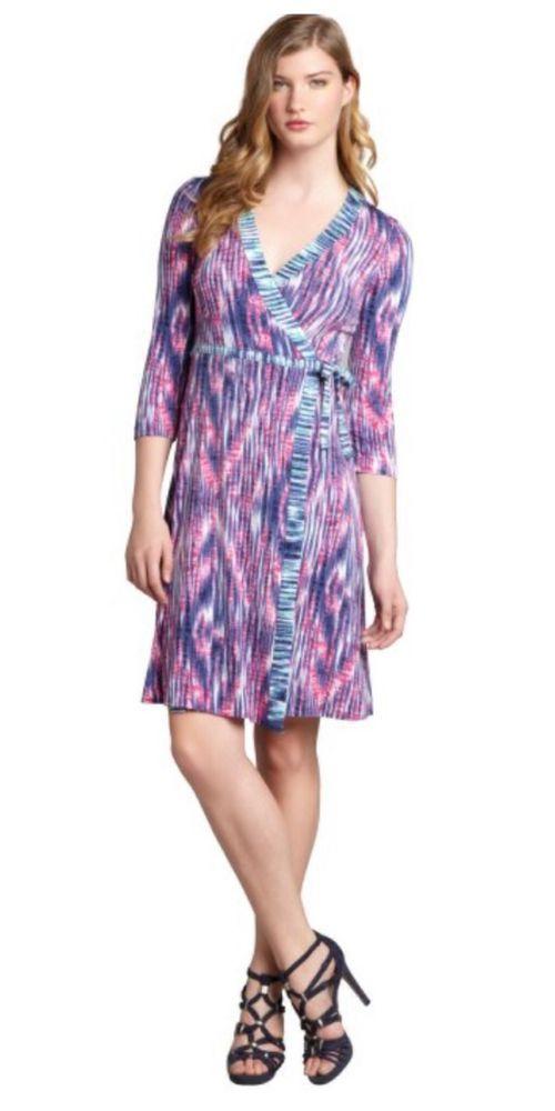 BCBGMAXAZRIA Azalea Ikat Striped Stretch Jersey 3/4 Sleeve Wrap ...
