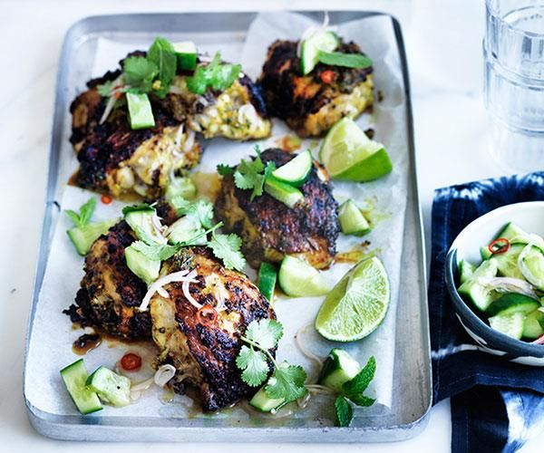 Turmeric Chicken With Cucumber Salad Recipe Summer Chicken Recipes Recipes Cucumber Salad
