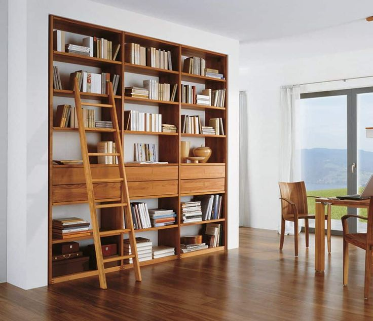 Contemporary Built In Wooden Bookshelf With Ladder images