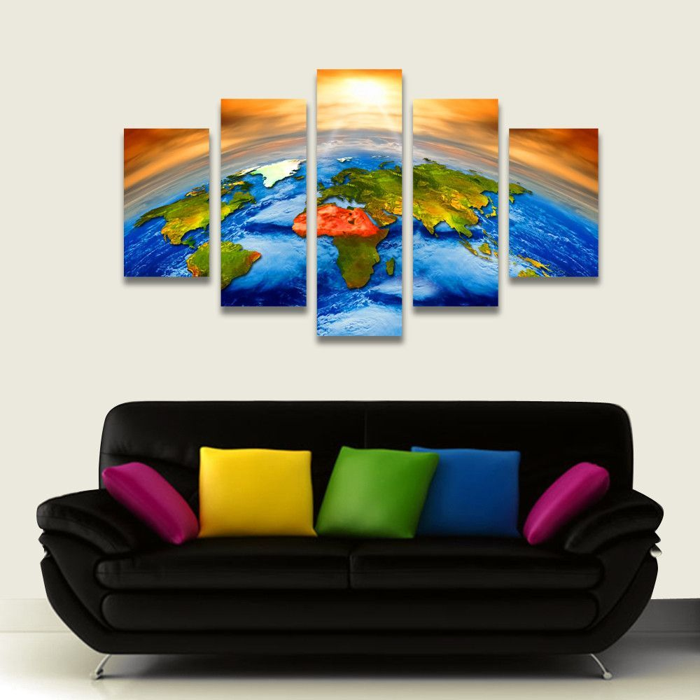 Painting In Living Room 5 Piece Canvas Art Sun Outer Space Earth World Map Painting
