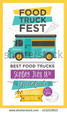 Food truck festival menu food brochure, street food template - food brochure