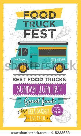 Food truck festival menu food brochure, street food template design - best of invitation letter format for japan visa