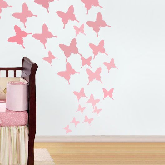 Erfly Nursery Stencil Wall Decor