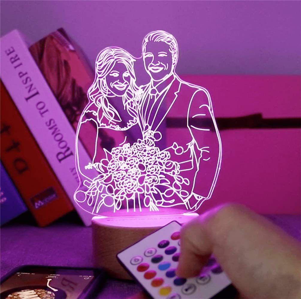 Foto Personalizada Lámpara De Cristal 3d Luz Nocturna 2 Cambio De Color Rgb Lámpara De Mesa Led Grabado De T Luces Led De Colores Luces Nocturnas Colores Rgb