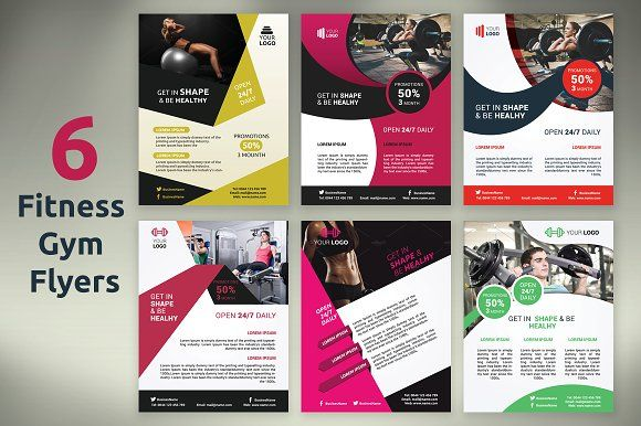 6 Fitness \/ Gym Flyers by Creatricks on @creativemarket Flyers - Gym Brochure Templates