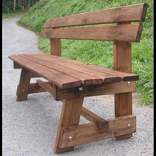 Banco de jard n modelo patr n 200 cm con respaldo - Como hacer bancos de madera ...