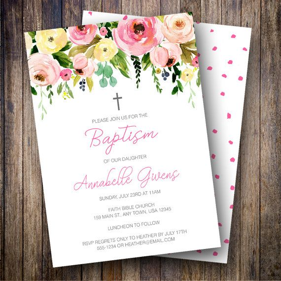 Girl Baptism Invitation, Dedication Invite, Printable Baptism - invitation for baptism girl