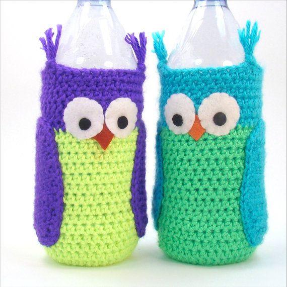 8dc7959ee7 Water Bottle Sleeve - Owl Crochet Pattern - Crochet Water Cozy ...