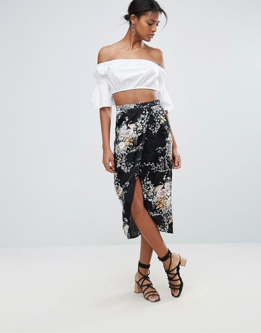 New look floral jacquard wrap midi skirt black products